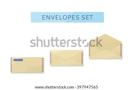 Envelope set open and close design flat. Letter mail template, yellow envelope, invitation envelope, open or close envelope vector illustration - stock vector