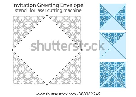 Envelope template For Laser cutting. Square format. Die of wedding and invitation card. Vector Illustration isolated on white background. - stock vector