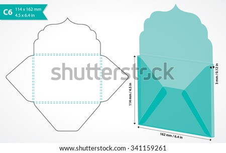 Envelope template with flap design. Easy to fold. May be used for thank you notes, wedding, gift tag or save the date cards. Standard c6 size suits a6 size cards. Die cut envelope layout.  - stock vector