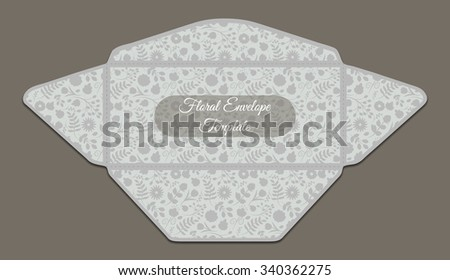 Envelope template with floral pattern inside. Good for holiday greeting, card, wedding or baby shower invitation,  branding, making your company correspondence unique. Gentle vector illustration - stock vector