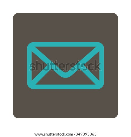 Envelope vector icon. Style is flat rounded square button, cyan and grey colors, white background. - stock vector