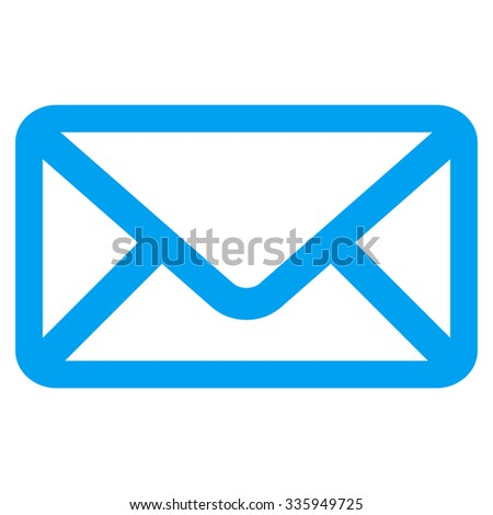 Envelope vector icon. Style is flat symbol, blue color, rounded angles, white background.
