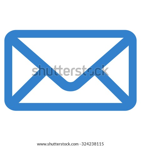 Envelope vector icon. Style is flat symbol, cobalt color, rounded angles, white background.
