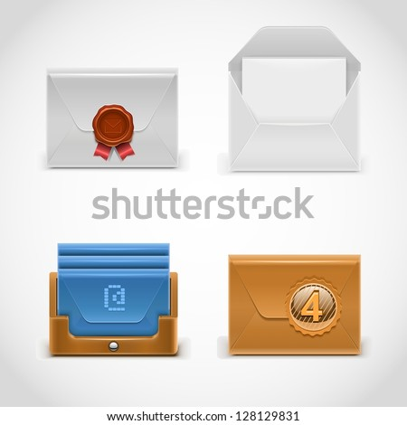 envelope vector icons - stock vector