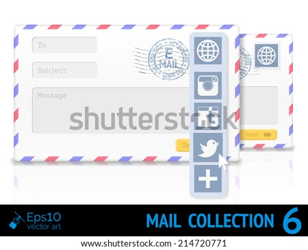 Envelope with a form and postal stamp isolated on white background. Vector illustration - stock vector