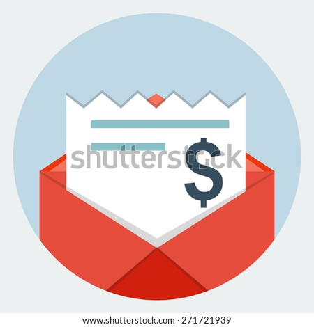 Envelope with  bills icon - stock vector