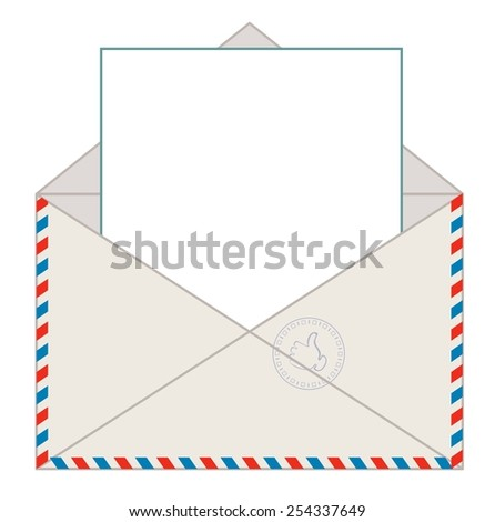 Envelope with blank letter for your message, vector illustration - stock vector