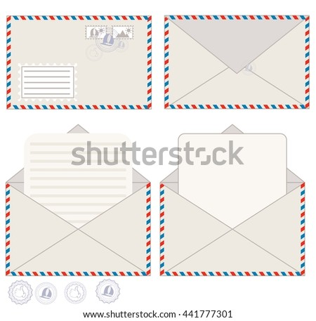 Envelope with blank letter for your message, vector illustration. - stock vector