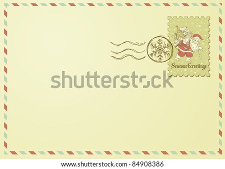 Envelope with Christmas stamp - stock vector