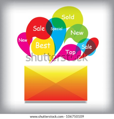 Envelope With Colors Labels, Vector - stock vector