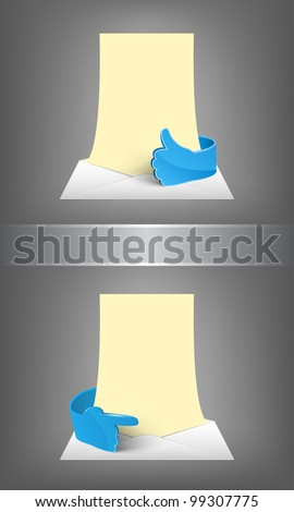 Envelope with empty paper and blue glass hand. - stock vector