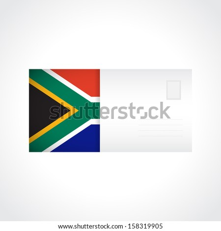 Envelope with flag of South Africa card for your design - stock vector