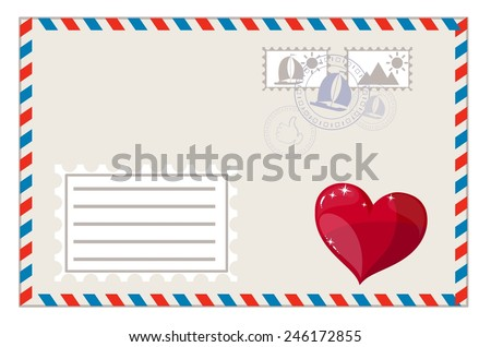 Envelope with heart and brands ready to ship, vector illustration