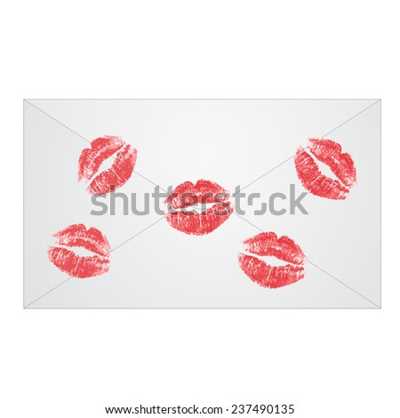 Envelope with lipstick kiss isolated on white background - stock vector