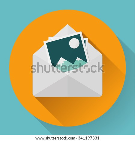 Envelope with photos - flat style concept of new email