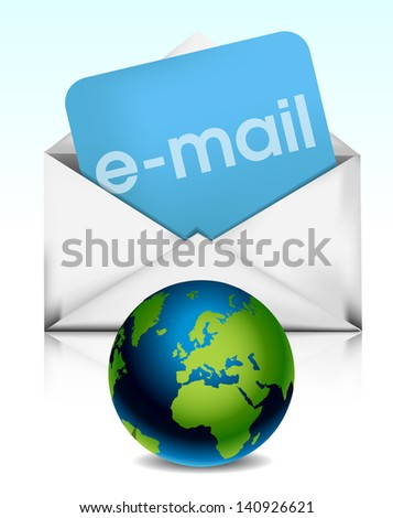 Envelope with planet earth eps10