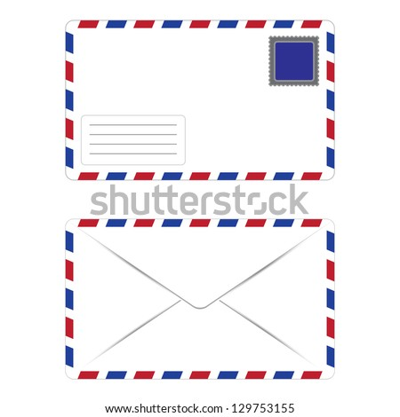 Envelope with Postage Stamp Front and Back over White Background