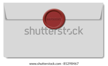 Envelope with Red Wax Seal (EPS10 Vector)