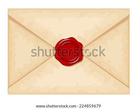 Envelope with red wax seal. Vector illustration.
