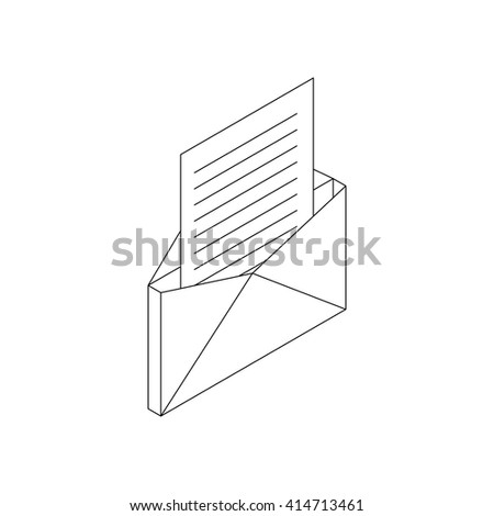 Envelope with sheet of paper icon - stock vector