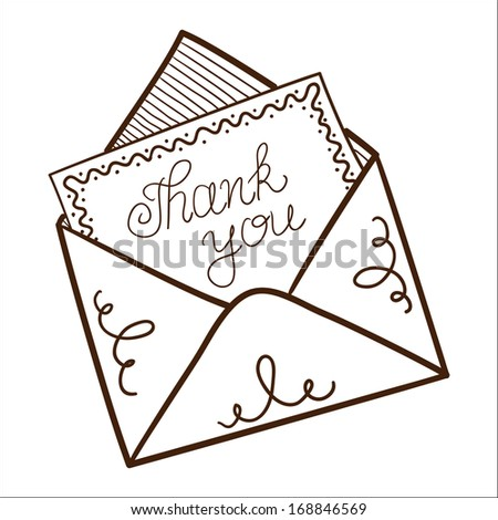 Envelope with thanksgiving text. Sketch vector illustration - stock vector