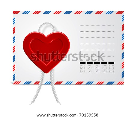 Envelope With Wax Seal in form hearts, Isolated On White Background - stock vector