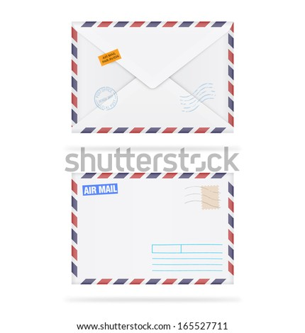 Envelopes with stamps on white background. Vector illustration. Realistic. Air mail. Face and back. - stock vector