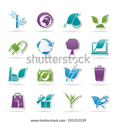 Environment and Conservation icons - vector icon set - stock vector