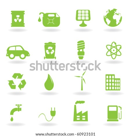 Environment and eco related symbols - stock vector