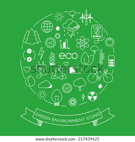environment and electricity vector thin line symbol icon set with a label