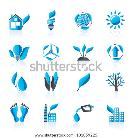 environment and nature icons - vector icon set - stock vector