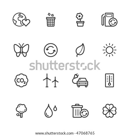 Environment and recycling icons. Strokes have not been expanded. - stock vector