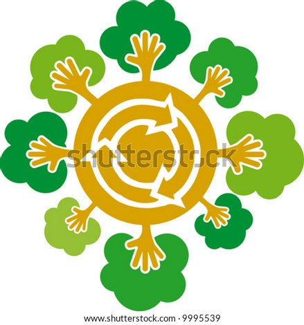 Environment caring- conceptual recycling symbol - stock vector