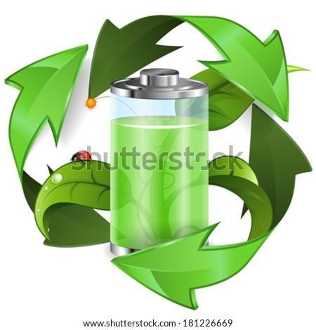 Environment Concept with Young Green Sprout, Battery and Recycling Symbol, vector isolated on white background - stock vector