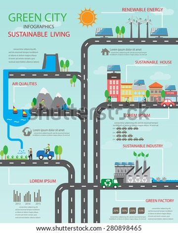 Environment, ecology infographic elements. Environmental , ecosystem.  Can be used for background, layout, banner, diagram, web design, brochure template. Vector illustration - stock vector