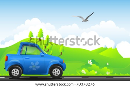 environment friendly car on a beautiful summer landscape - stock vector