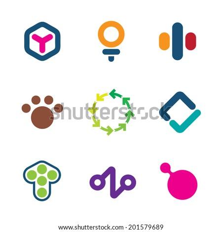 Environment friendly efficient solutions green initiative creative logo icon set - stock vector