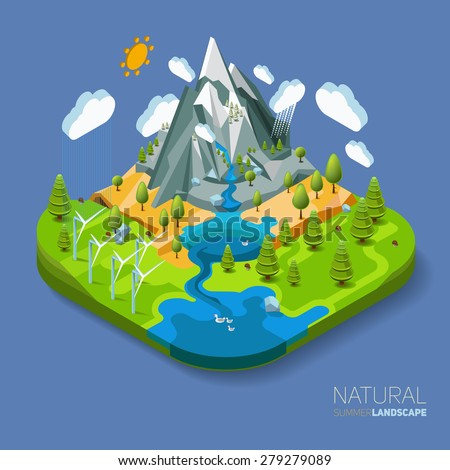 Environment friendly natural landscape with mountains river and forest around. Vector work flat isometric 3D concept. - stock vector