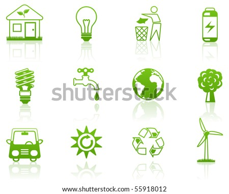 Environment green icon set - stock vector