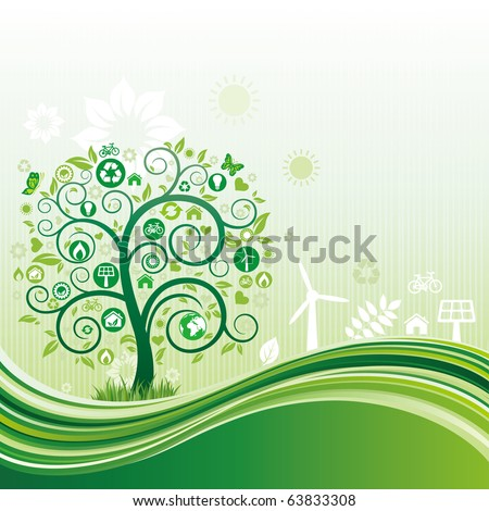 environment icon and tree,green flow background - stock vector