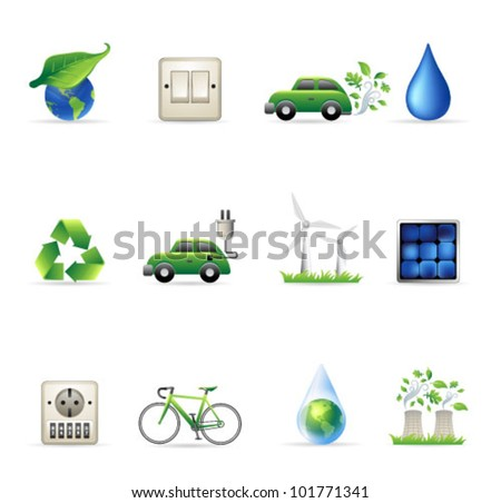 Environment  icon set. Transparency & gradient meshes used. Transparent shadows placed on layer beneath. - stock vector