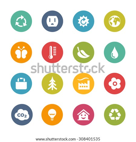 Environment Icons, Circle Series - stock vector