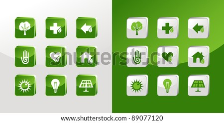 Environment icons glass set over light and dark background. Vector file available - stock vector