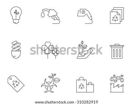 Environment icons in thin outlines. Energy saving, green energy. - stock vector