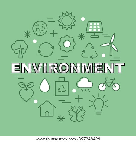 environment minimal outline icons, vector pictogram set