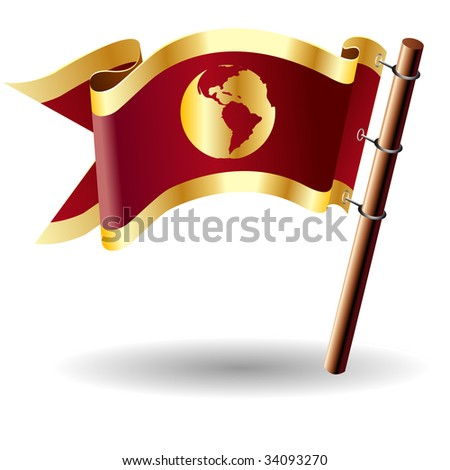 Environment or globe icon on red and gold vector flag good for use on websites, in print, or on promotional materials