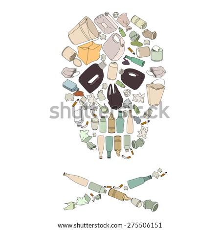Environment pollution concept picture. Skull made of garbage isolated on white - stock vector