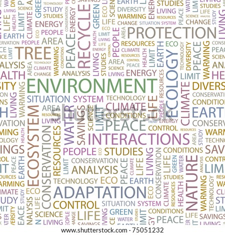 ENVIRONMENT. Seamless vector pattern with word cloud. Illustration with different association terms. - stock vector