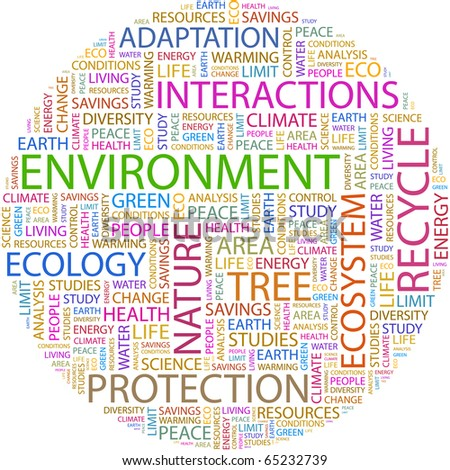 ENVIRONMENT. Word collage on white background. Illustration with different association terms. - stock vector