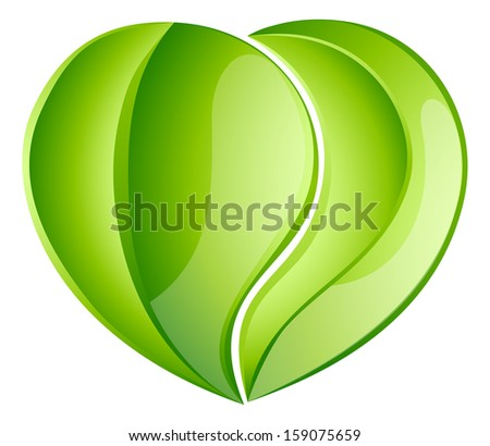 Environmental charity love green leaf heart concept. Leaves growing into a heart shape, concept for any environmental conservation issue, charity work or earth day - stock vector